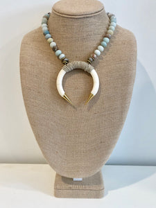 Suede Wrapped Crescent Horn Necklace
