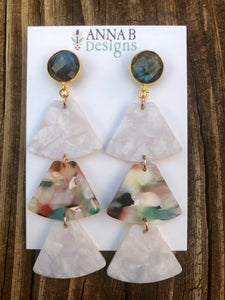 Libby Resin Earrings- Multi/White