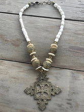 Bone and Brass Beaded Necklace- Cream