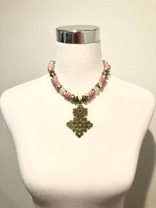 African Glass Beaded Necklace | Pink