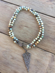 Knotted Amazonite beaded necklace