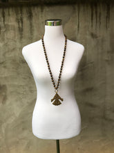Wooden Necklace with African Brass Pendant