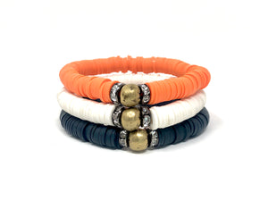 Game Day Clay Stack (Solid trio)-Navy, Orange and White