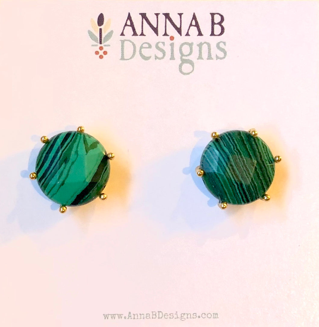 Clara Stud Earrings-Malachite