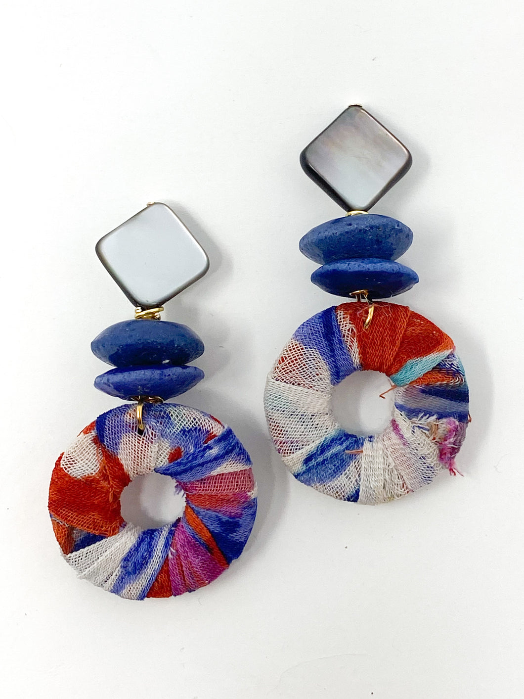 Sevy Fabric Earrings | Blue + Red