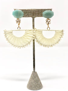 Lila Raffia Fan Earrings-Cream