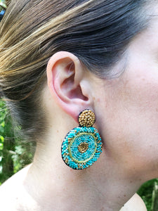 Beaded Stud Earrings- Aqua and Gold