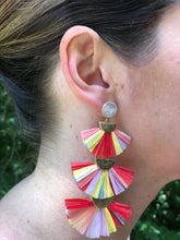 Raffia 3-tier earrings-Red