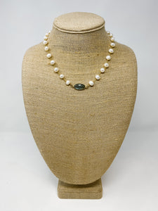 Pearl Necklace with Bezel Pendant