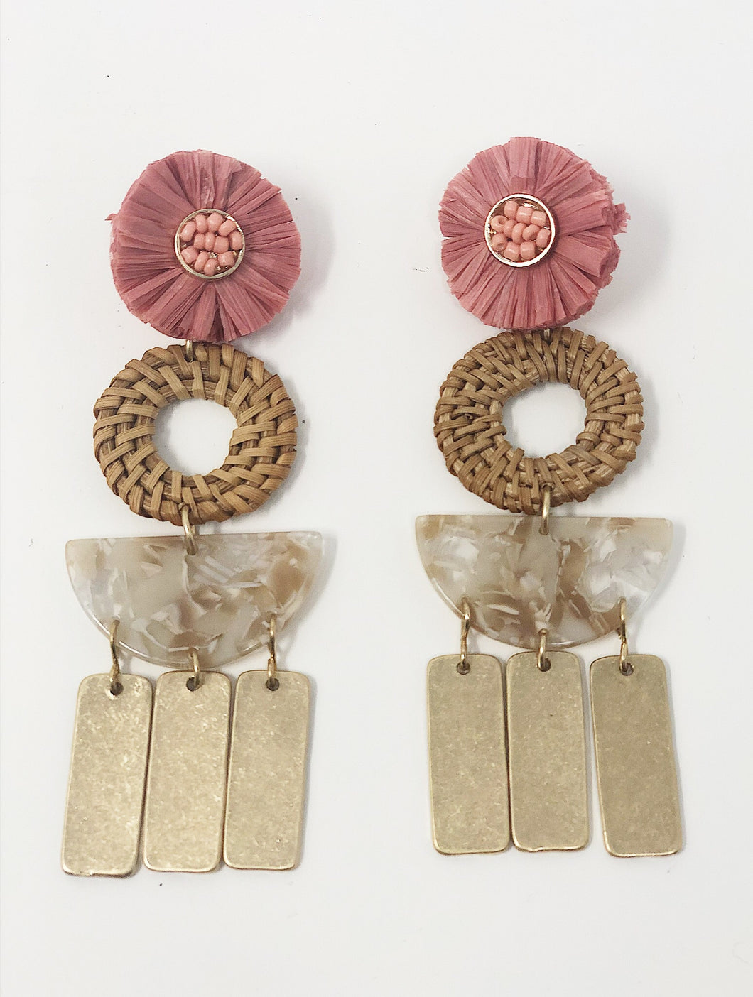 Demi Raffia Flower Earrings- Blush