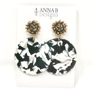Betsy Resin Earrings-Black + White