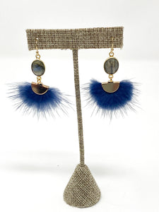 Marley Marabou Earrings | Navy
