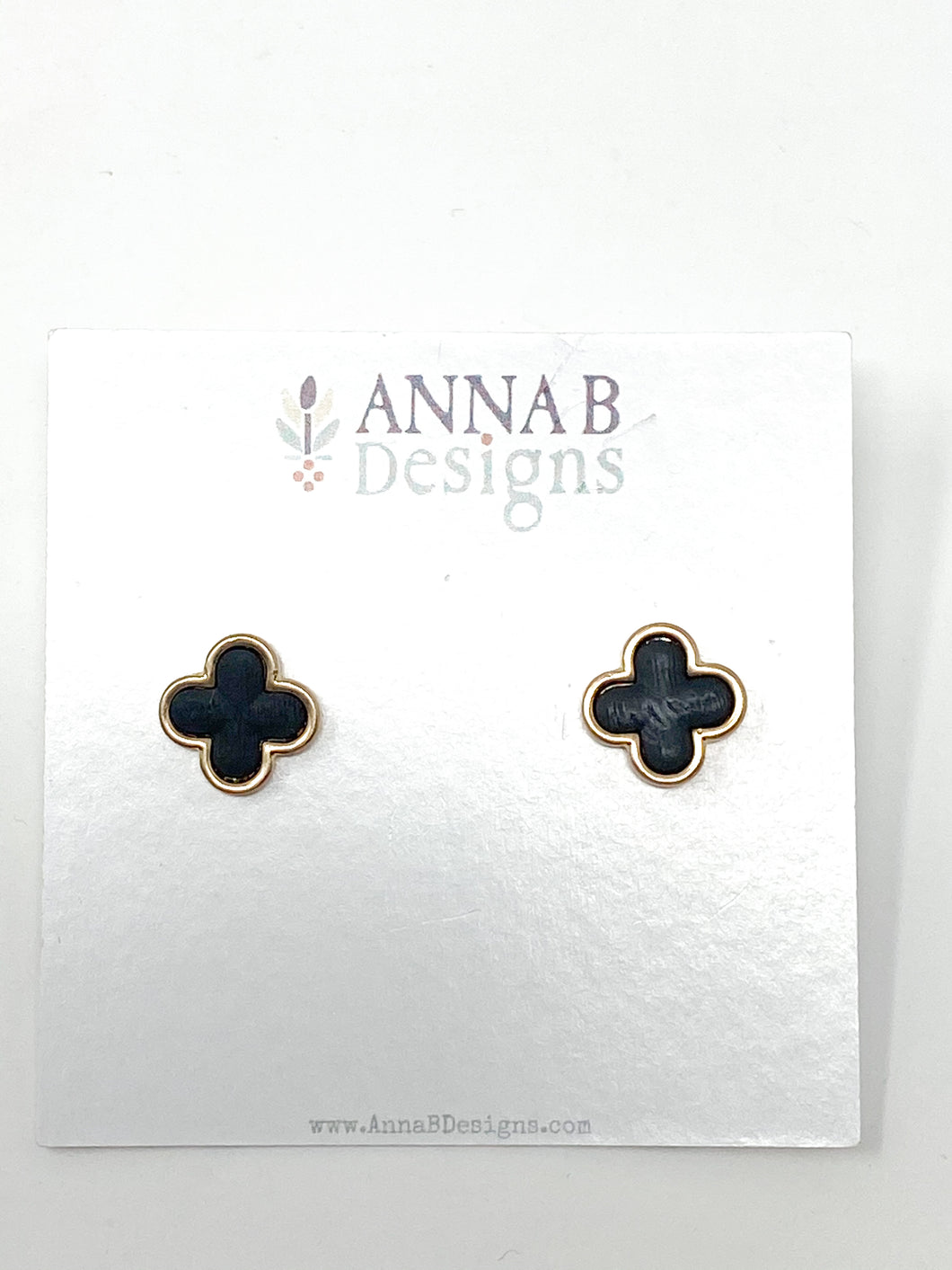 Gold Clover Studs | Black