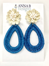 Farris Floral Earrings- Blue + Cream