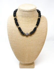 African Pavé Glass Necklace | Black