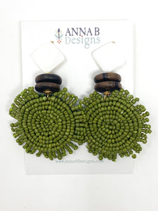 Caley Beaded Earrings | Olive