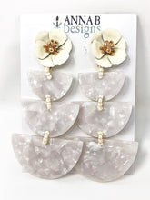 Paola Resin Earrings- Ivory + White