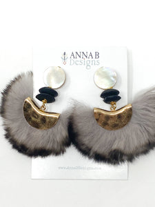 Gray Marabou Earrings