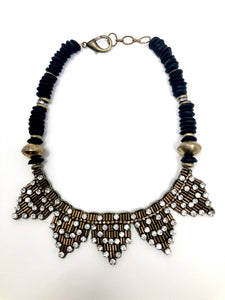 Beaded Rhinestone Necklace with African Glass