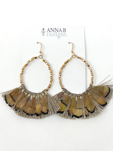Simmons Feather Earrings | Tan