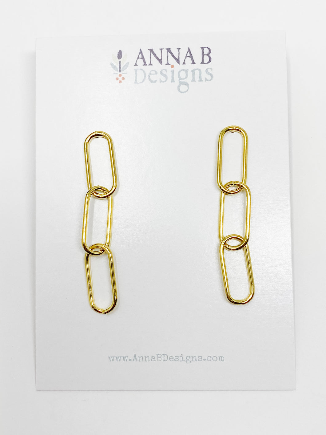 Paper Clip Chain Earrings | Gold