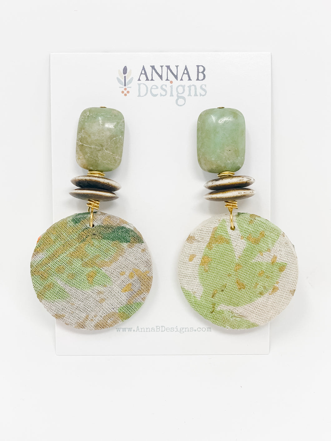 Roo Fabric Earrings | Multi Green