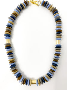 Recycled Glass Necklace | Blue Mix 2