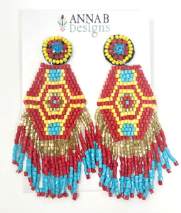 Audra Beaded Earrings- Red + Yellow