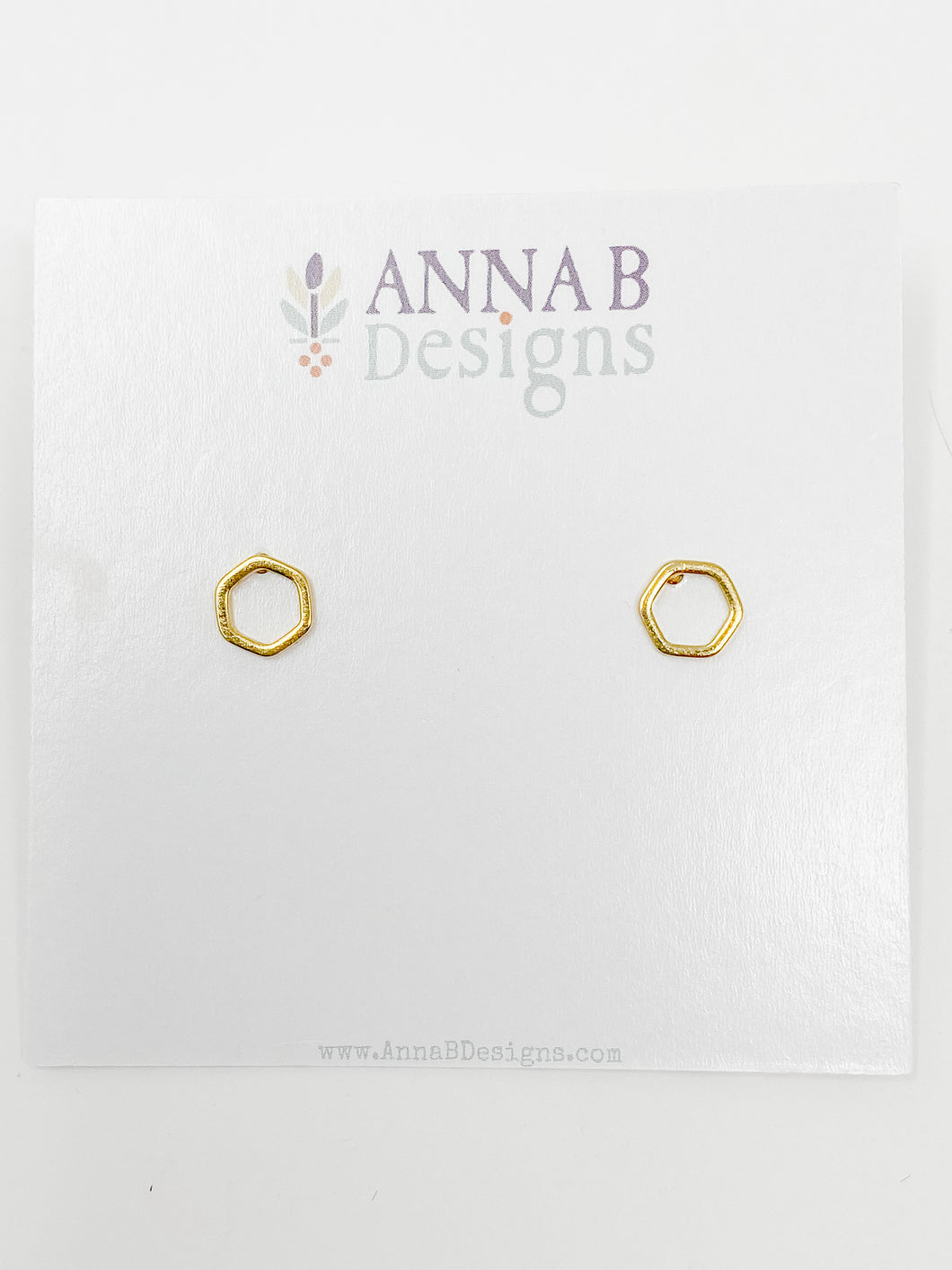 Dane Hex Studs | Gold