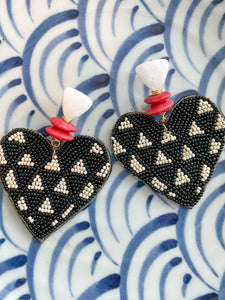 Alice Heart Earrings-Black