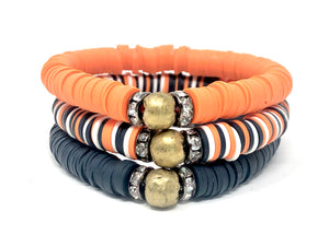 Game Day Clay Stack (trio)-Navy, Orange and White