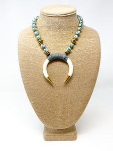 Suede Wrapped Bone Necklace