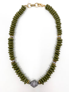 African Pavé Glass Necklace | Olive