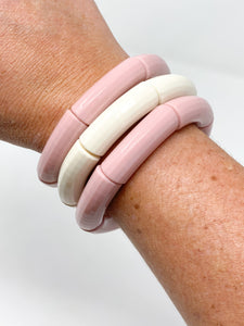 Acrylic Stretch Bracelets  Light Pink