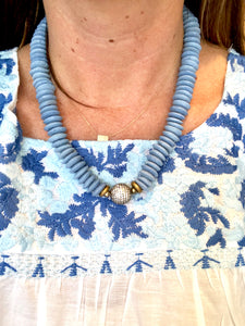 African Pavé Glass Necklace-Blue