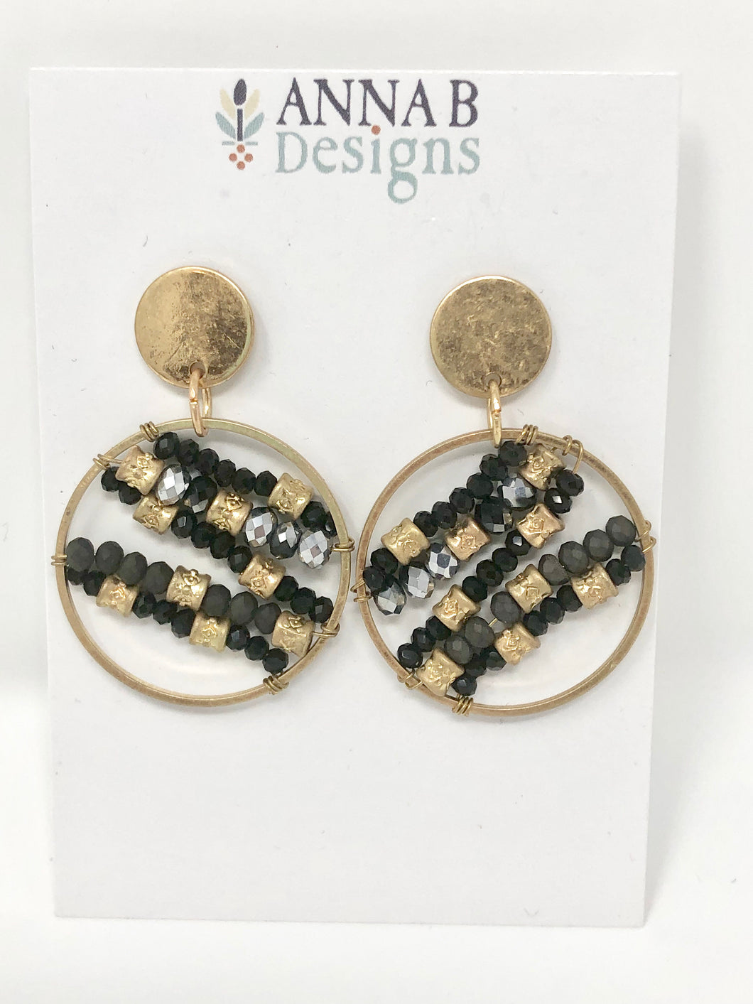 Ada Beaded Earrings-Black + Gold