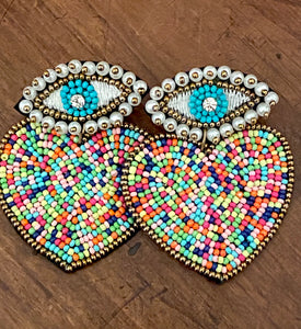 Multicolor Beaded Heart Earrings