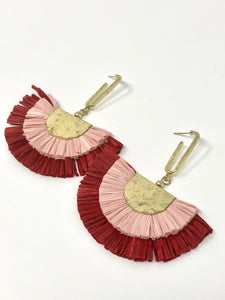 Double Raffia Fan Earrings- Pink + Red
