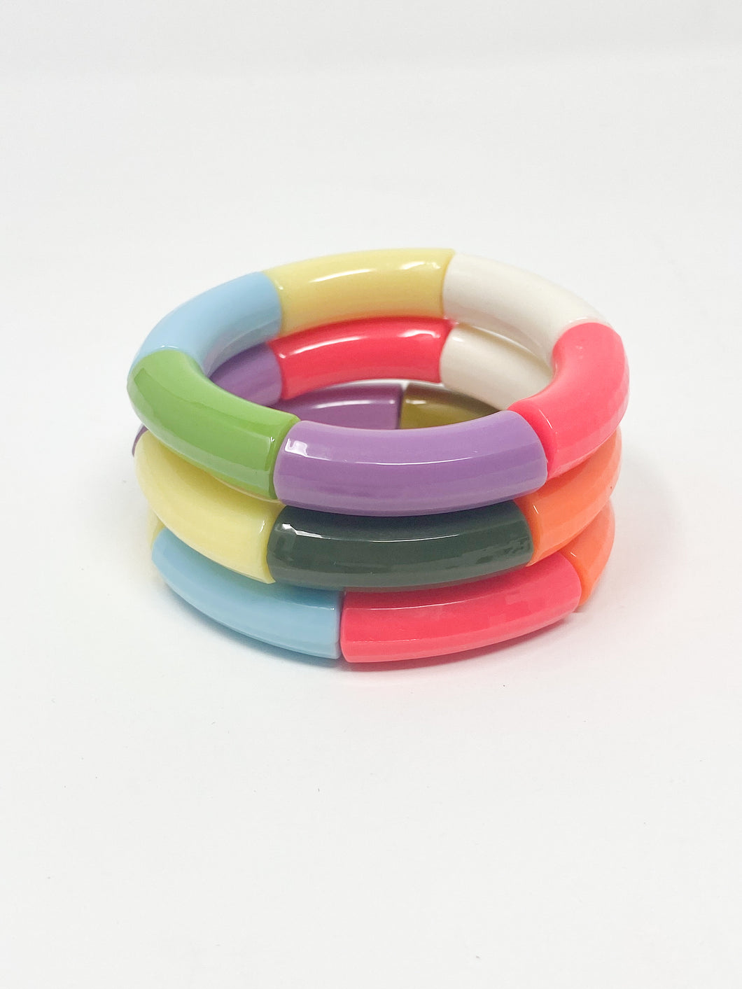 Acrylic Stretch Bracelets | Bright Multi S/3