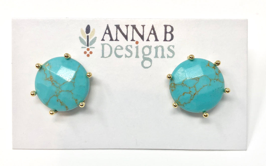 Clara Stud Earrings-Turquoise