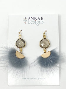 Marley Marabou Earrings | Gray