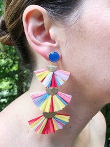 Raffia 3-tier earrings-Multi