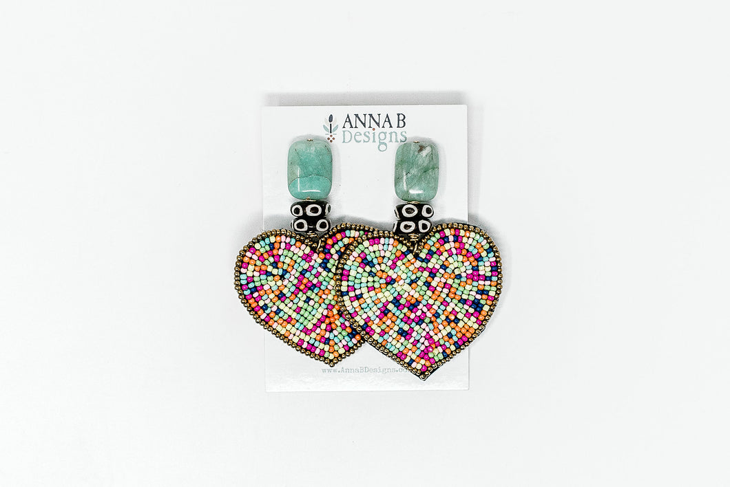 Alice Heart Earrings- Multi
