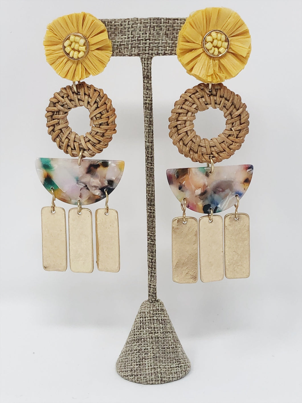 Raffia Serena Earrings- Yellow Multi