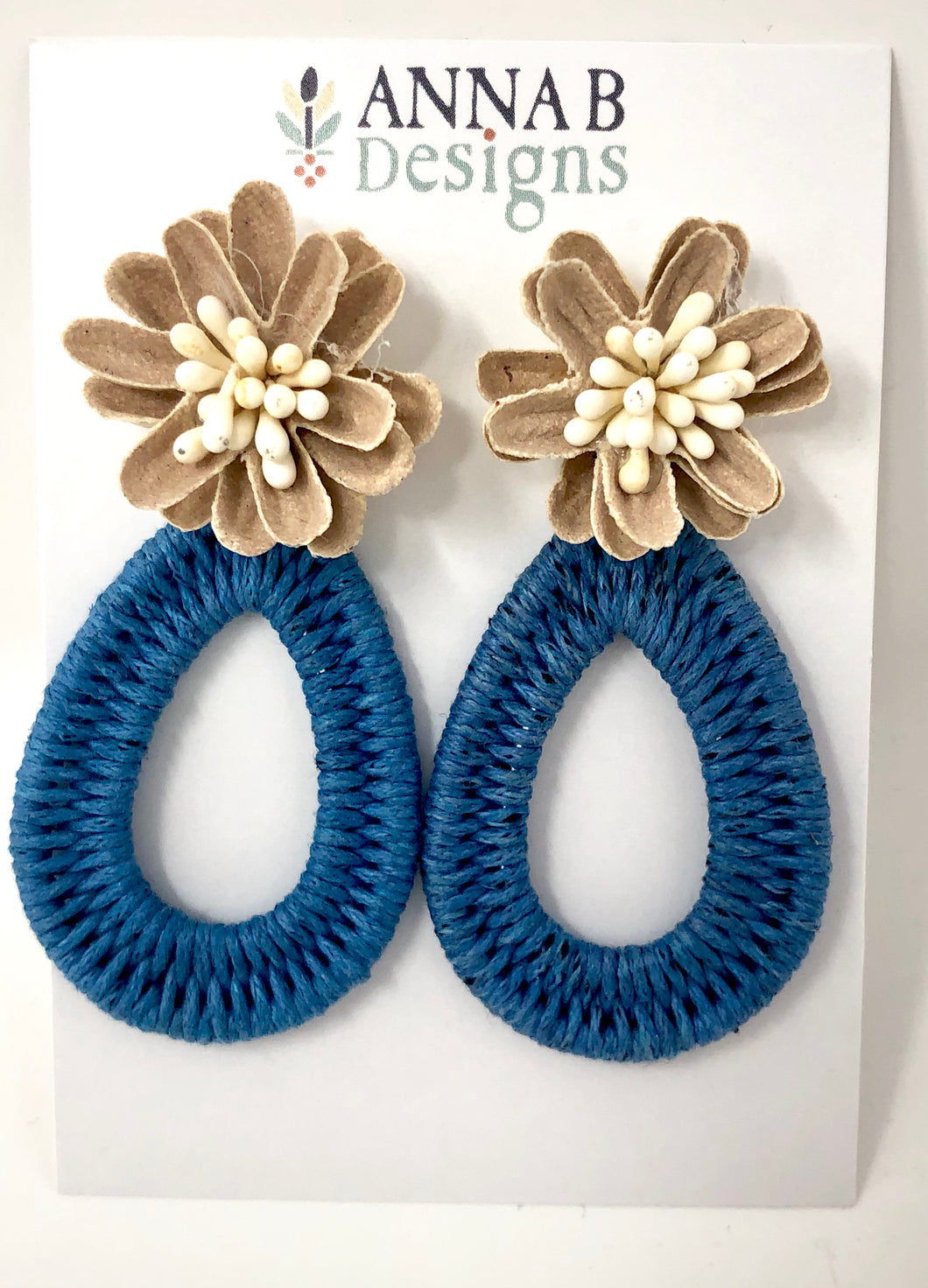 Farris Floral Earrings- Blue + Camel