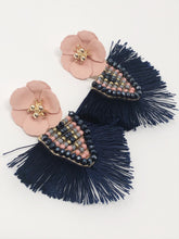 Corrine Silky Fringe Earrings-Navy