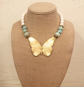 Howlite necklace with butterfly pendant