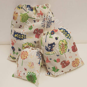 Woodlands cotton drawstring bag set - 3 pieces (small, medium & large)