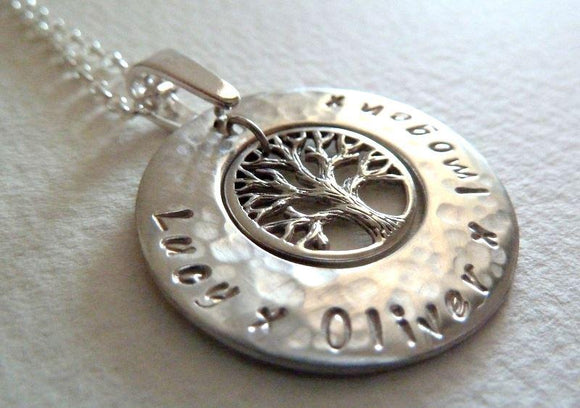 Personalised Tree of Life pendant in sterling silver - no chain