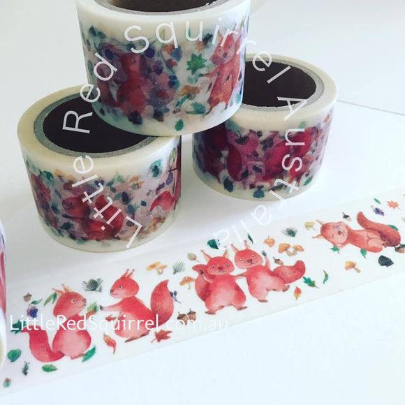 Adorable red squirrel washi tape, 30mm wide and 7m long